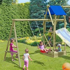 Spielturm Patrick mit Schaukel und Sandkasten Rundholz 440x190x290cm