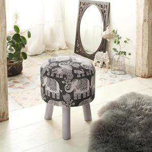 Home affaire Hocker aus schönem Baumwollstoff und edlen Elefantenmotiven auf dem Stoff »Javed«