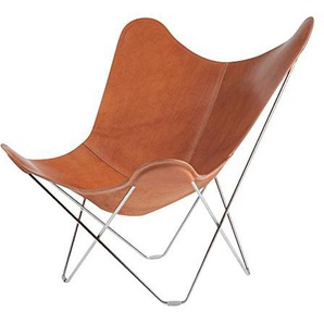 Cuero Pampa Mariposa Butterfly Chair Sessel, mittelbraun Polo 66 BxHxT 87x92x86cm Gestell chrom matt