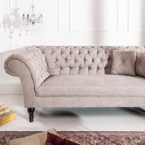 Chesterfield Sofa PARIS 225cm greige Baumwolle mit 2 Kissen