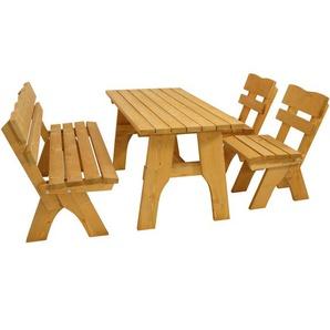 Garnitur FREITAL 4-teilig (2x Stuhl, 1x Bank 150cm, 1x Tisch 70x150cm), Kiefer imprägniert - DEGAMO