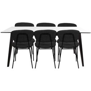 Essgruppe | Esstisch Ausziehbar Weiß 195/285 cm mit 6 Stühlen Leder, Schwarz - Nora & Elliot