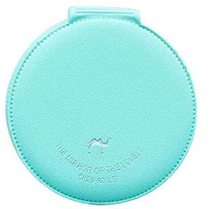 Bmstjk Schminkspiegel, Mode doppelseitige tragbare Mini-Schminkspiegel, süß Bonbonfarbenen Kamel Muster Faltbare abnehmbaren Spiegel PU-Abdeckung, grün