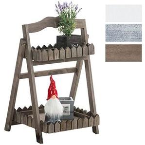 CLP Leiterregal aus Holz mit 2 Ablageflächen I Klappbares Dekoregal im Landhausstil I Blumenregal mit 2 Ablageflächen I erhältlich Dunkelbraun