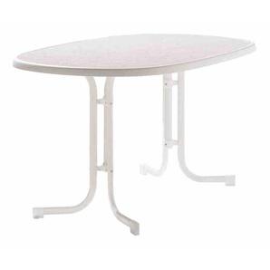 SIEGER 152/W Tisch 90x140 weiß klappbar,Dekorplatte oval 152/W