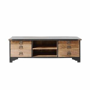 TV-Möbel mit 6 Schubladen aus schwarzem Mangoholz und Recyclingholz Cheyenne