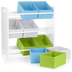 Leomark Holzregal 9 Textilschubladen, Regal für Spielzeug, weiße Farbe. Aufbewahrungsregal, Spielzeugregal, Kinderregal, Spielzeugablage mit 9 Schubladen