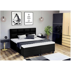 ELESS Lindt Boxspringbett Continentalbett Amerikanisches Bett Doppelbett Ehebett Gästebett Schwarz 180x200 cm H3-H3