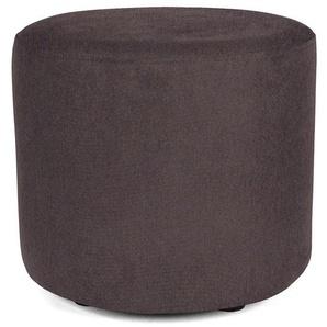 Sitzwürfel Hocker rund mit Webstoffbezug dunkelgrau grau - Höhe 38cm Durchmesser circa 43cm, gute Verarbeitung