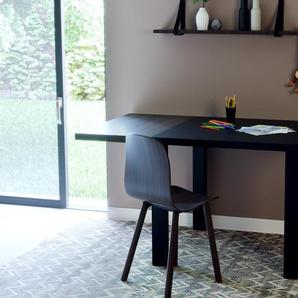 Schreibtisch Massivholz Schwarz - Moderner Massivholz-Schreibtisch: Einzigartiges Design - 130 x 76 x 90 cm, konfigurierbar