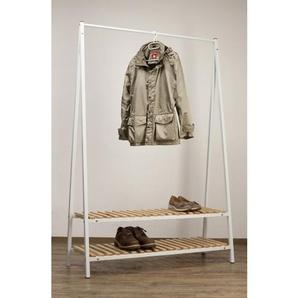 Standgarderobe ROBIN Massivholz Weiß lackiert/Edelstahl gebürstet ca. 120 x 180 x 43 cm