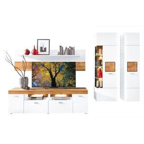 vito Wohnwand MALONI Weiß matt/Absetzungen Eiche Hirnholz ca. 306 x 194 x 50 cm