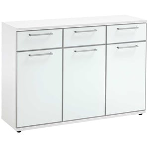 Garderoben Sideboard in Weiß Glas beschichtet