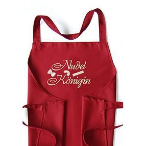 Latzschürze Nudel-Königin, Schürze cherry, hochwertig bestickt, Kochschürze, Küchenschürze
