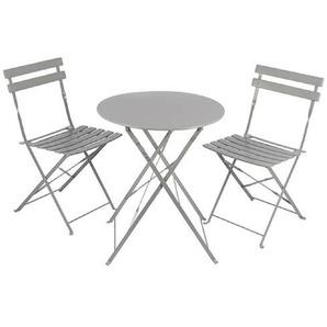 3 tlg. Bistro Garnitur Gartenstuhl Gartentisch Grau Balkonset Tisch - PETERS-LIVING