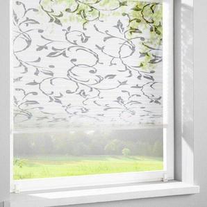 Plissee-Faltenstor mit Blumenmuster, weiß, Gr. 130/40 cm, Home Wohnideen *, Material: Baumwolle, Polyester