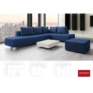 Ecksofa Schlafsofa, Gemini A, dunkel blau, Doppelbett mit Liegeflächen 200x160cm oder 2x 200x80cm