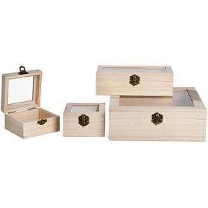 Box, 4er-Set, 23x23x8cm natur