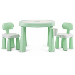 COSTWAY Kinderspieltisch- und Stuhlset, multifunktionaler Smarter Tischset, Babytisch mit Bausteinen, Kindersitzgruppe AR-Technologie, Kindermoebel ideal fuer Kinderzimmer und Kindergarten Gruen