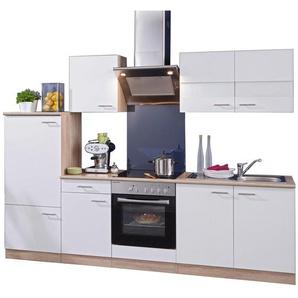 Respekta Economy Küchenblock 270 cm mit Glaskeramikkochfeld Weiß - Eiche Sägerau