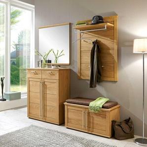 Garderobenmöbel Set mit Eiche Bianco furniert Bank (4-teilig)