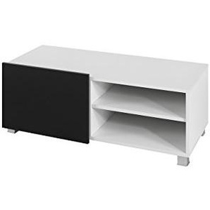 Mirjan24  TV Board Lowboard Gordia G 1D, Fernsehschrank Fernsehtisch, 100x38x43 cm, TV-Tisch, TV Schrank, TV Bank, TV Möbel (Weiß/Weiß Hochglanz + Schwarz Hochglanz)