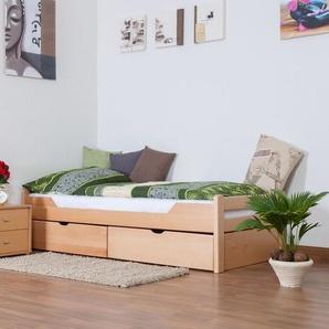 Einzelbett / Funktionsbett Easy Premium Line K1/1n inkl 2 Schubladen und 2 Abdeckblenden, 90 x 200 cm Buche Vollholz massiv Natur