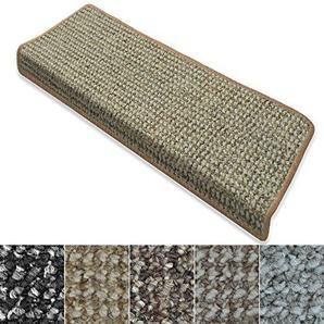 casa pura Stufenmatten Carlton   Flachgewebe dezent Gemustert   Treppenteppich in Zwei Formen   mit Teppich Läufer kombinierbar (Beige - rechteckig - 15 Stück)