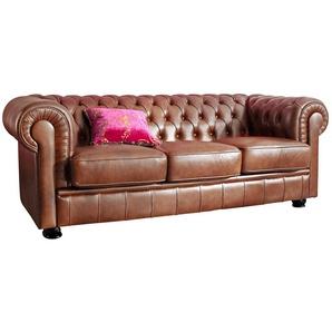 Max Winzer® Chesterfield 3-Sitzer Sofa »Kent« im Retrolook, mit edler Knopfheftung