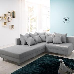 Ecksofa Clovis Grau Flachgewebe Hocker Ottomane Links Modulsofa, Design Ecksofas, Couch Loft, Modulsofa, modular