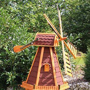 Große Windmühlen, Windmühle Holz behandelt Typ 23.1 und Solarbeleuchtung (groß Solar bunt, Rot)