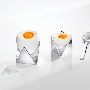 Alessi Eierbecher Roost, Doppel-Eierbecher, Aluminium, 2 in 1
