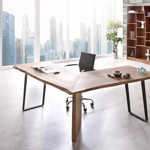 Schreibtisch Live-Edge 170x170 Akazie Braun Gestell Schwarz Baumkante, Schreibtische, Baumkantenmöbel, Massivholzmöbel, Massivholz, Baumkante, Wolf Live Edge