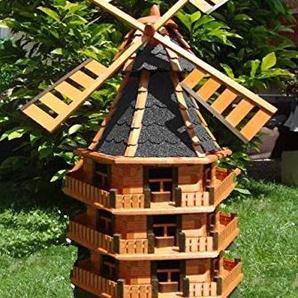 BTV Ölbaum 180 cm Gartenwindmühle, dreistöckig, WMB180at-OS,windmühlen Garten, ohne o. mit Solarbeleuchtung, für Außen 1,80 m groß in schwarz