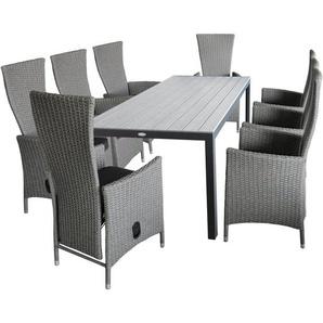 9tlg. Gartengarnitur Gartentisch, Polywood Tischplatte Silbergrau, 205x90cm + 8x Gartensessel grau-meliert, stufenlos verstellbar, inkl Sitzkissen - WOHAGA®