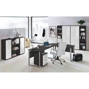 Büromöbel Set TALLINN-16 anthrazit, Hochglanz weiß, 11-teilig, Eckschreibtisch mit Metallkufen