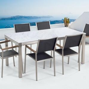 Gartenmöbel Set weisse Keramik 180 x 90 cm mit 6 Stühlen Textilbespannung schwarz GROSSETO