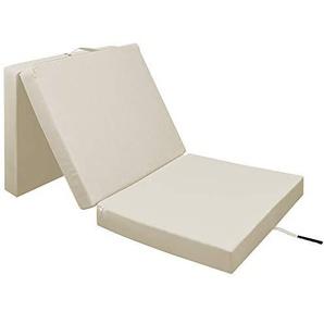 Deuba Klappmatratze Faltmatratze Matratze   190 x 70 x 10 cm   Farbe: Beige   waschbarer Bezug   bis zu 3X faltbar   Tragegriff   platzsparend