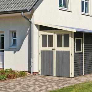 KARIBU Set: Gartenhaus »Wandlitz 5«, BxT: 208x496 cm, inkl. Doppelflügeltüren vorn und hinten