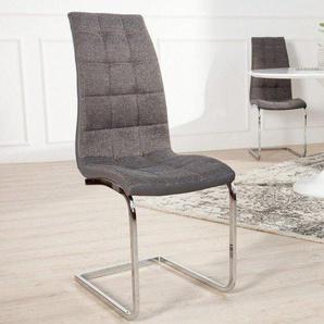Moderner Freischwinger Stuhl LONDON grau mit Ziersteppung