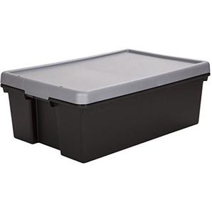 Stabile Aufbewahrungsbox aus Kunststoff, 36 Liter, schwarz - mit Deckel Stapelbox Spielzeug Camping Haushalt Aufbewahrungs Kiste Plastik Box