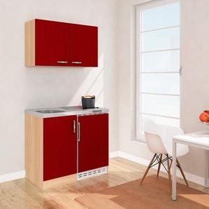 Miniküche mit Glaskeramikkochfeld und Kühlschrank, Breite 100 cm