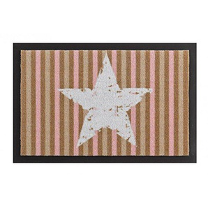 HANSE Home Schmutzfangmatte Star Stripes Rosa Braun 40x60 cm Fußmatte, Polyamid, 40 x 60 x 0,7 cm