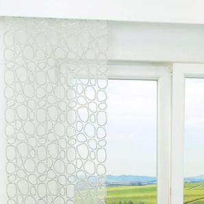 Schiebevorhang  von LYSEL® Kieselsteine transparent  in den Maßen 140 cm x 40 cm grau/stein