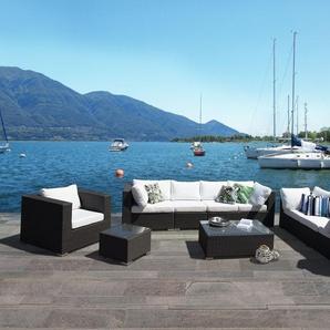 Lounge Set Rattan schwarz 8-Sitzer Auflagen cremeweiss MAESTRO