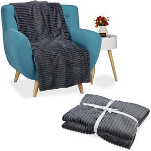 2x Kuscheldecke groß im Set, Tagesdecke 150 x 200 cm, Wohndecke flauschig, Sofadecke warm, Sofaüberwurf uni, anthrazit - RELAXDAYS