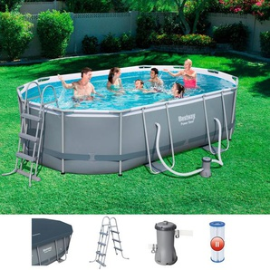 BESTWAY Set: Framepool »Power Steel«, LxBxH: 488x305x107cm, Oval, 6-tlg.