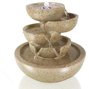 Arnusa Zimmerbrunnen Conchas mit LED-Beleuchtung Springbrunnen Wasserspiel Tischbrunnen Wasserpiel