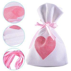 Yalulu 10 Stück Jutesäckchen Jute-Beutel Sack Beutel Leinen Schmuck Säckchen mit Zugband Tasche Geschenksäckchen für Hochzeitsfeier (Rosa)