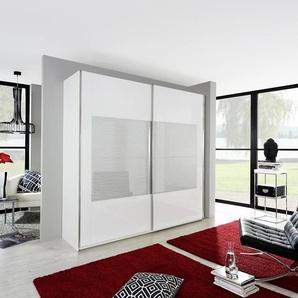 INOSIGN Schwebetürenschrank mit gemusterter Glasfront, weiß, Breite 226 cm